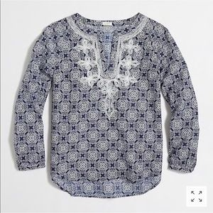 J. Crew printed embroidered top